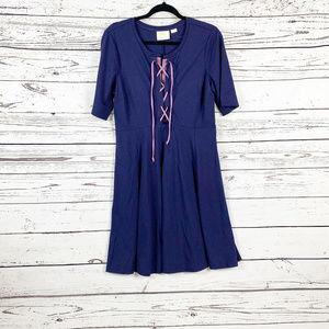 NWOT Maeve Anthropologie Blue Lace up Knit Dress